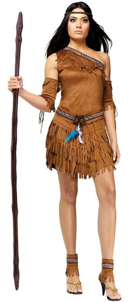 Pocahontas One-Shoulder Adult Costume Dress