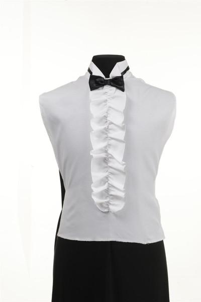 Shirt Front Ruffled Black Bow Tie