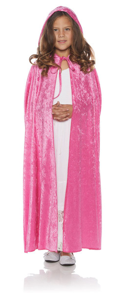 Girls Dark Pink Full Length Panne Cape