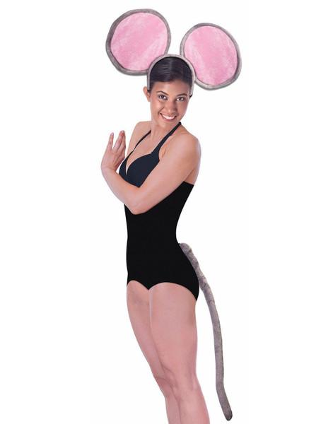 Jumbo Mouse Kit Animal Adult Headband Giant Ears Tail Grey Costume Accessory