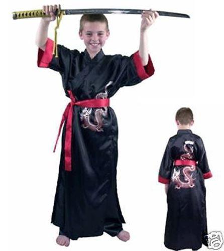 Karate Kid Halloween Costume.Black Samurai Kung Fu Ninja Warrior Karate Karate Boys Halloween Costume L