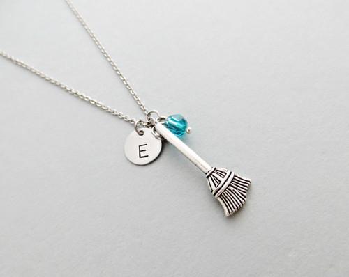 broom charm necklace