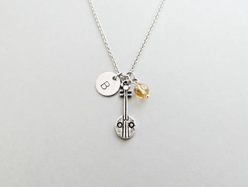 Banjo Initial Necklace Personalized Hand Stamped - with Silver Banjo Charm and Swarovski Bead