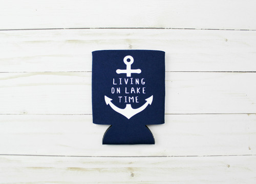 living on lake time koozie