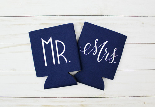 mr mrs couples koozie