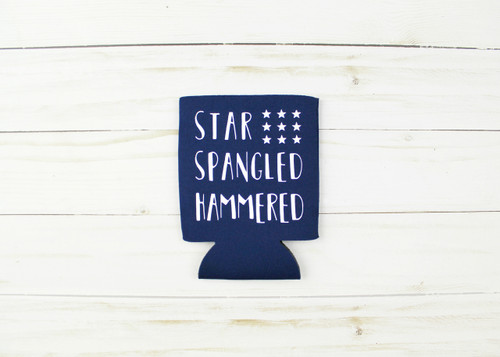 star spangled hammered koozie