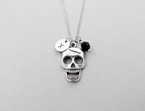 skull initial charm