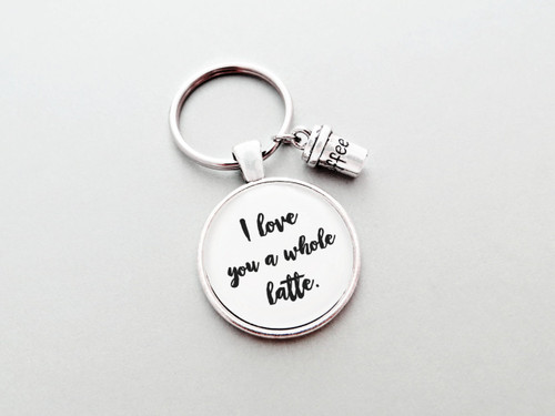 love you whole latte keychain
