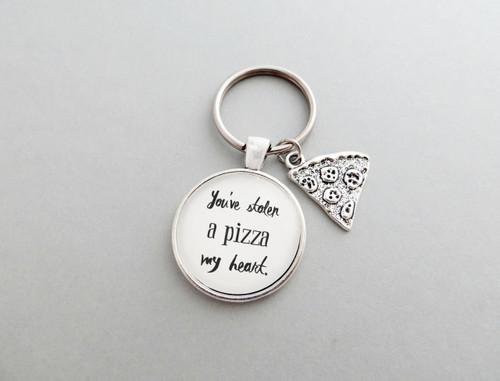 stolen pizza heart keychain