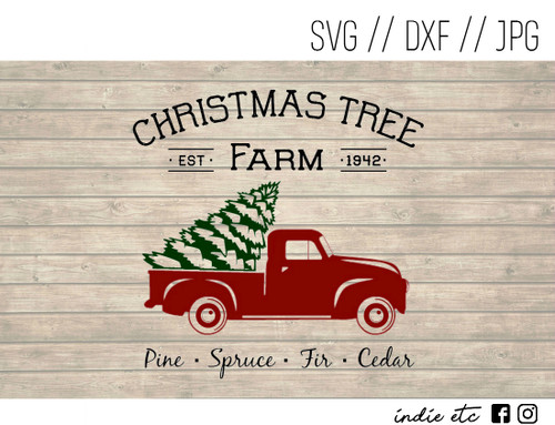christmas tree farm red truck digital art