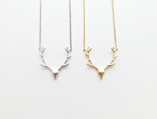 antler charm necklace