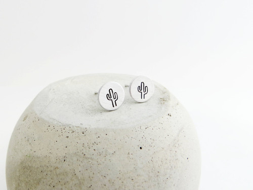 cactus stamped earrings