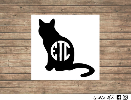 cat monogram decal