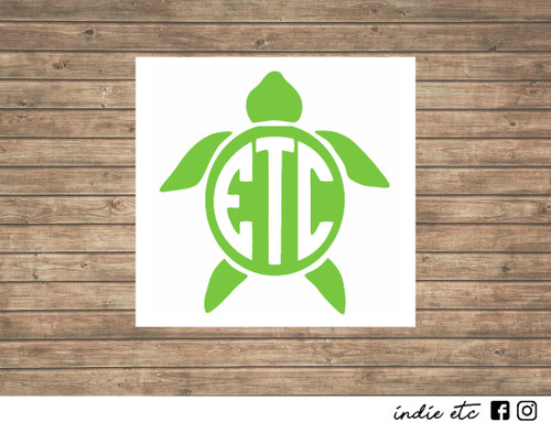 turtle monogram decal