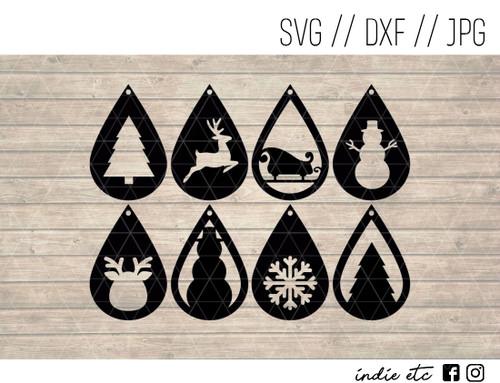 teardrop christmas earrings digital art