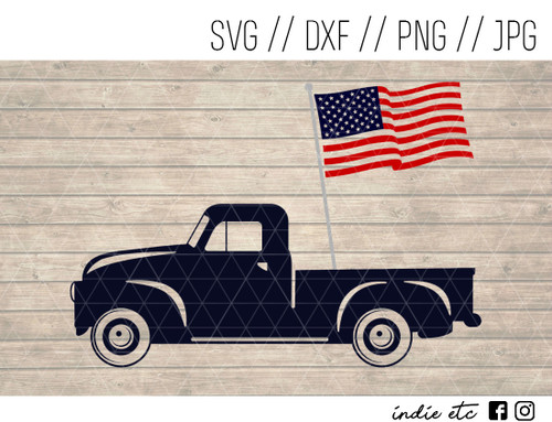 truck with flag digital art
