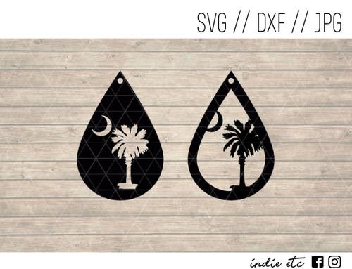 teardrop palm tree earrings digital art