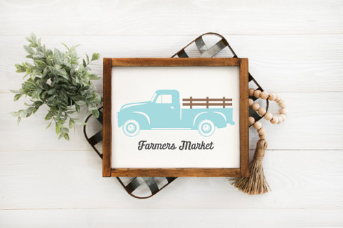 farmer market with truck sign