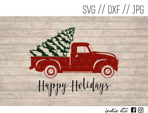 happy holidays red truck digital art