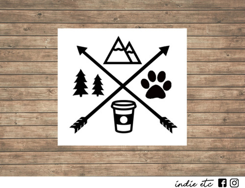 mountain decal coffee cup decal