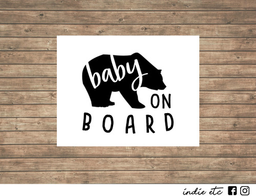 baby bear on board decal