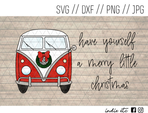 merry little christmas vw camper digital art