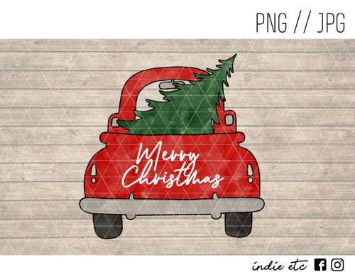 merry christmas red truck green tree digital art