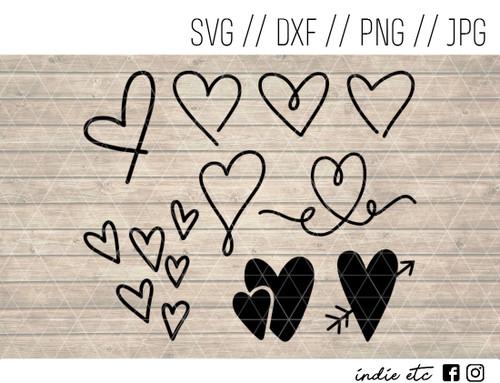 doodle hearts svg