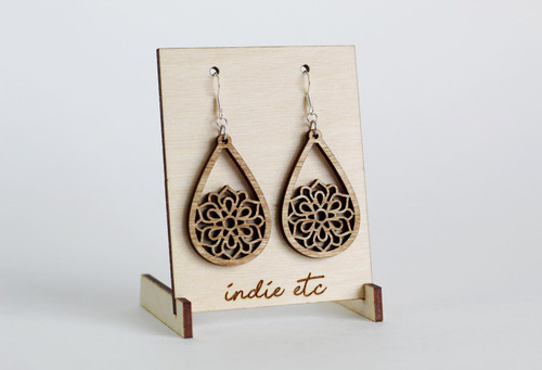 wooden teardrop earrings