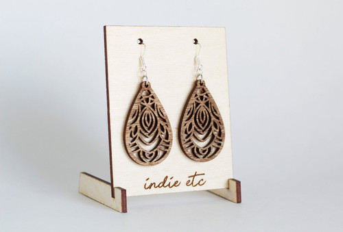 wooden filigree earrings