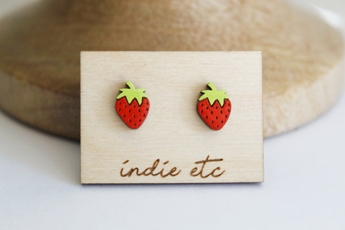 wood strawberry earrings
