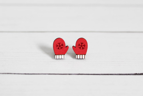red mitten earrings