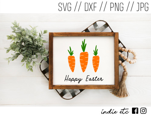 happy easter carrots framed