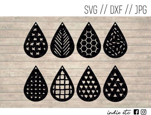 Geometric Teardrop Earrings Digital Art File Svg Dxf Jpeg Cut File
