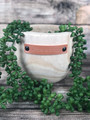 """Wooden planter with leather embellished quote """"Grow in Grace"""""""