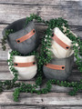 Wooden planter with leather embellished quote