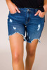 Ripped Girlfriend Denim Shorts