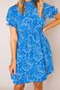 Blue Printed High Neck Dress - Final Sale