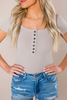 Taupe Ribbed Henley Bodysuit