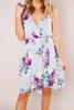 Grey Floral Wrap Dress - Final Sale