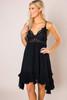 Black Crochet Top Slip Dress