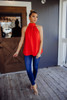 Red High-Neck Sleeveless Blouse - Final Sale