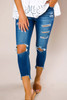 Denim Ripped Cropped Jeans