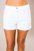 White High-Rise Cuffed Shorts - Final Sale