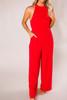 Red Halter Jumpsuit - Final Sale