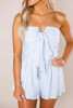 Light Blue Strapless Printed Romper - Final Sale