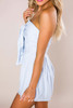 Light Blue Strapless Printed Romper