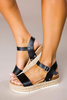 Black Buckle Platform Sandals