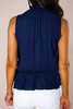 Navy Textured Smocked Tank - Final Sale