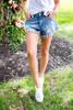 Denim Distressed Frayed Shorts - Final Sale